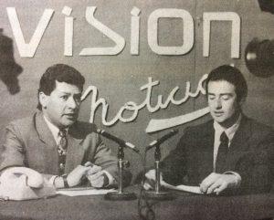 """El meteorólogo MArcelo Speranza, junto al recordado locutor de """"Visión Noticias"""", Oscar Stenger, fallecido en el año 2003.,"""