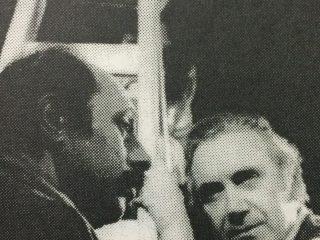El actor, director y autor teatral, Horacio A. Cerani (1930-1998), gran propulsor, animador y «alma mater», del Teatro «El Chasqui», junto a los intérpretes, Carlos Sanzone y Aida Hacha (Década de 1980).