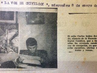 El fundador y director del Archivo Literario Municipal y el Salón del Periodismo Chivilcoyano, Carlos Armando Costanzo, a los diez años de edad, en una nota, publicada en las páginas de La Voz de Chivilcoy, el miércoles 8 de enero de 1969 (Ejemplar Nº 30, de dicho diario, aparecido, el 2 de diciembre de 1968.