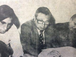 El Dr. Obdulio Aníbal De Vito (En el centro), junto a Héctor Oscar Bonfigli (A la izquierda), y el Dr. Rafael Alberto Mónaco (A la derecha).