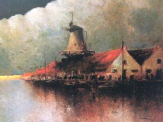 Óleo titulado: «Costa holandesa».