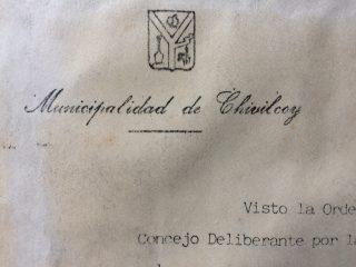 Membrete oficial, de la Municipalidad de Chivilcoy, confeccionado en la imprenta de la comuna (Década de 1980).
