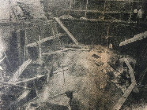 La etapa de construcción, del edificio Naico I, en la intersección de la calle Pellegrini y la avenida Ceballos.  El citado edificio, cuya propietaria, era la Propulsora Ceballos S.A., constaba de 12 pisos y un total de 36 departamentos (3 unidades, por piso); planta baja, con locales de comercio; dos ascensores, y calefacción de losa radiante. Dicha obra, se inauguró principios de la década de 1970.