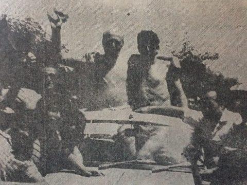 «Chocho» Diciervi, ganador de la quinta «Vuelta de los locos», realizada en diciembre de 1973.