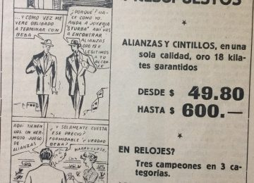 Historieta de Agustín Domingo Guasco, en una publicidad comercial de la época.
