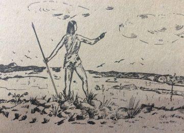 El legendario cacique Chivil-co, en un interesante dibujo, de Agustín Domingo Guasco, publicado en la revista «El Informativo familiar», en el mes de octubre de 1946.