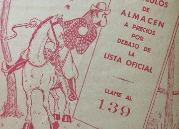 Dibujo de Agustín Domingo Guasco, en un anuncio comercial, del mes de agosto de 1946.