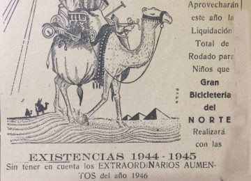 Dibujo de Agustín Domingo Guasco, en un anuncio comercial y publicitario, del mes de diciembre de 1946.