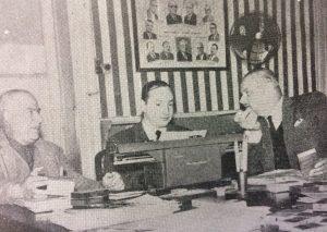 Agustín Domingo Guasco (A la derecha), junto a Miguel Ángel Ventieri, gerente comercial del Centro Comercial e Industrial y el señor Antonio Giangiácomo (Año 1965).