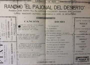 """Carnaval chivilcoyano del año 1925, con la agrupación """"El pajonal del desierto""""."""