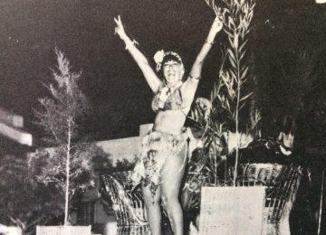 La intérprete chivilcoyana Lía Blanco,en los festejos del carnaval, de 1988.