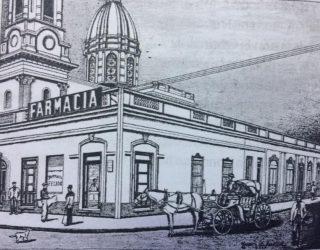 La farmacia Sánchez, en el dibujo del artista plástico, escritor e investigador del pasado lugareño, procurador Juan Antonio Larrea.