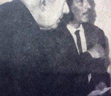 Monseñor, Dr. Luis Ramón Conti, acompañado por el director del matutino «La Voz de Chivilcoy», el periodista, escritor, poeta y docente, Diego Bernabé Rositto (1919-1991), en una fotgrafia del mes de diciembre de 1968.