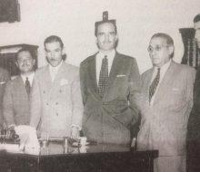 El Dr. Francisco José Falabella, el día de su asunción, como comisionado municipal, el 7 de marzo de 1957. Entre los colaboradores de su equipo de gobierno  se destaca la presencia, del ingeniero José María Ferro, secretario de Obras Públicas, de dicha administración comunal.