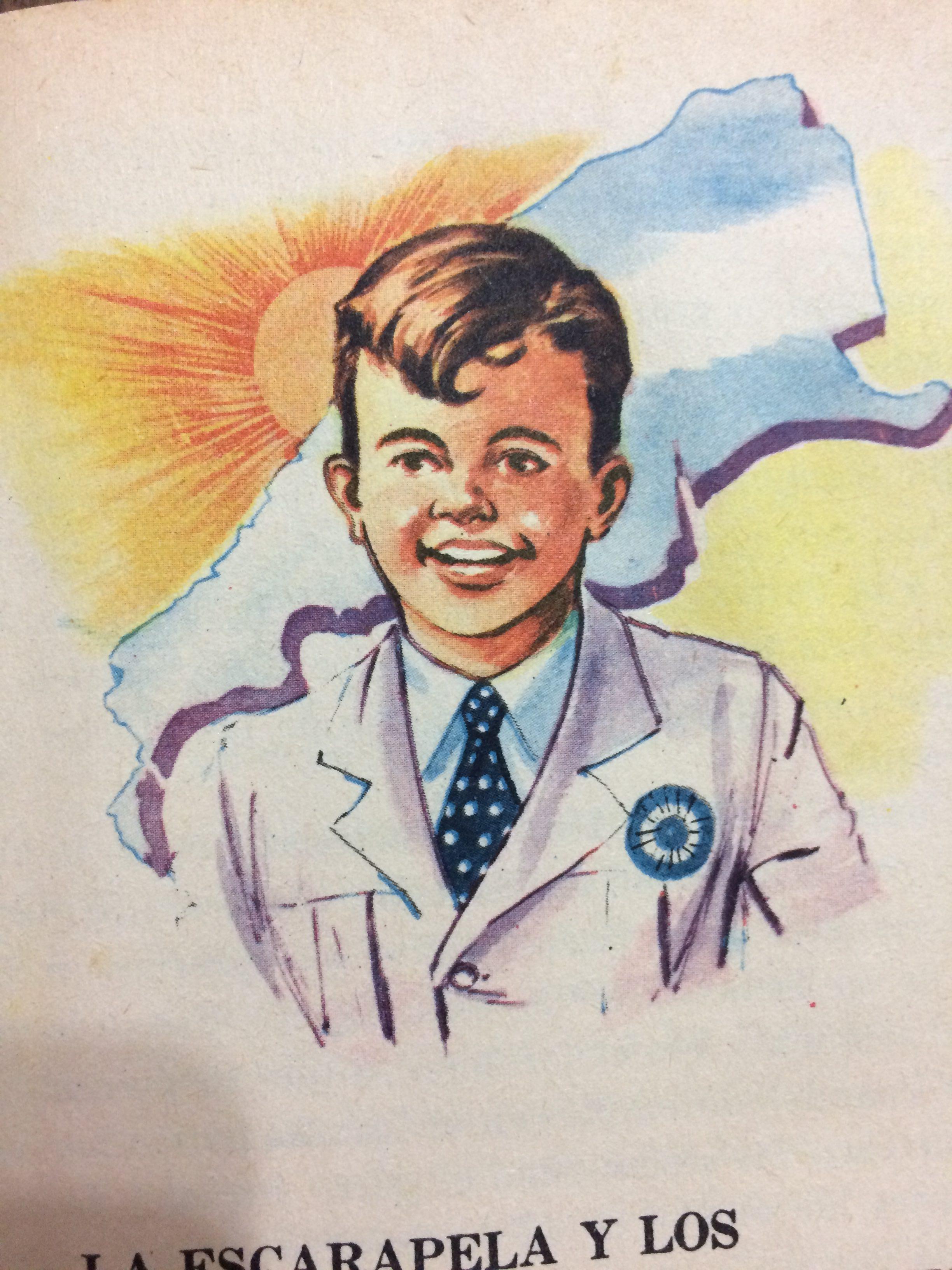 Ilustraciones, de distintos libros de lectura, de la escuela primaria, correspondientes a las décadas de 1940, 1950 y 1960.