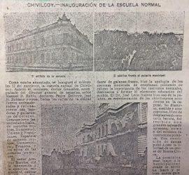 Crónica periodística, de la inauguración de la Escuela Normal, el miércoles 12 de abril de 1905 (Publicación de la revista porteña «Caras y Caretas», del 22 de abril de 1905, Nº 842).