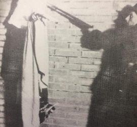 Una de las dramáticas escenas, de la pieza teatral «Juan Moreira».