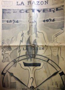 """Portada del diario """"La Razón"""", del lunes 22 de octubre de 1934, en la celebración del 80 aniversario, de la fundación de la ciudad de Chivilcoy. Fue ilustrada por el dibujante, Venancio A. Galarza."""