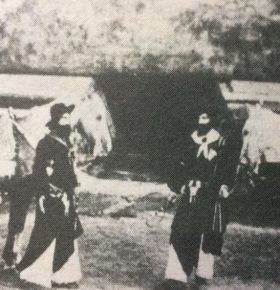 Cuadro o escena, de la pieza dramática «Juan Moreira», que se representó, por vez primera, en nuestra ciudad de Chivilcoy, el sábado 10 de abril de 1886.