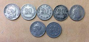 Moneda de cupro níquel, de 20 centavos, que se falsificaron en Chivilcoy, hacia el año 1934.