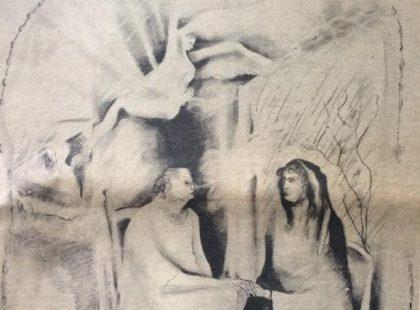Ilustración del cuento «El Rosario», de Alberto Lindolfo Boluntieri, realizada por el talentoso y siempre recordado dibujante y pintor chivilcoyano, Hernando De Paulo (1940-2002).