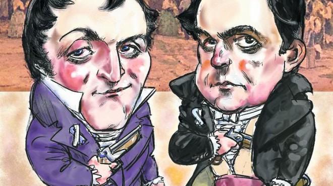 Caricaturas de los próceres argentinos, comandante de Patricios, Cornelio Saavedra y Dr. Mariano Moreno.