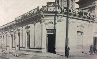 Tienda «La Universal», de Don José Lago, ubicada en la intersección, de la calle 9 de Julio, y la avenida Villarino (Estampa fotográfica, del año 1910, en el centenario de la Patria).