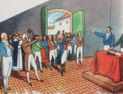 Ilustraciones alusivas, a la celebración del histórico y memorable 9 de Julio de 1816, publicadas en las páginas de distintos libros de lectura, de escuela primaria, correspondientes a las décadas de 1940. 1950 y 1960.