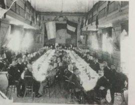 Celebración, llevada a cabo, en la sede de la Sociedad Operaria Italiana, el 20 de septiembre de 1889, con motivo del histórico aniversario, de la liberación de Roma. Dicha reunión, estaba encabezada, por Don Pascual Grisolía, fundador y presidente, de la institución mutualista.