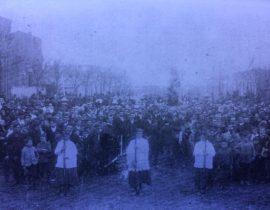 Procesión callejera, en honor de la Virgen del Carmen, correspondiente a la década de 1920.