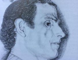 El pianista Antonio Módica, en el dibujo al lápiz, del caracterizado y prestigioso, médico cirujano y artista plástico, Dr. Daniel Antonio Pastorino (1926-2005).