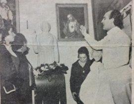 La Hermana Caridad, Irma Inglese de Maresco (1914-1972), junto a su hijo, el popularizado predicador cristiano, Hermano Miguel Maresco, el día de la inauguración del templo, del barrio porteño de Villa del Parque, el 23 de julio de 1972.