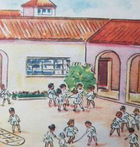 Distintas ilustraciones, de libros de lectura, de escuela primaria, correspondientes a las décadas de 1950 y 1960.