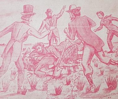 Representación, en forma de caricatura, de la ceremonia fundacional de Chivilcoy, aquel histórico y memorable, domingo 22 de octubre de 1854, en horas de la tarde. Una magnífica y magistral realización, del gran dibujante y publicista local, Agustín Domingo Guasco, nacido el 8 de octubre de 1817, y fallecido el 24 de febrero de 1975. Dicha ilustración, data del año 1946, y se publicó, en el mes de octubre de 1947.