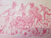 Representación, de la Ceremonia Fundacional de Chivilcoy, realizada, por el gran dibujante y hombre de la publicidad local, Agustín Domingo Guasco (1917-1975), en el año 1946.