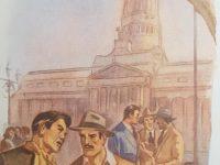 Dibujos e ilustraciones, de diferentes libros de lectura, de escuela primaria publicados a fines de la década de 1940.