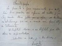 Carta de puño y letra, del poeta, escritor y periodista, Francisco Ernesto Palmentieri, escrita en la década de 1930, breve tiempo antes, de su prematuro fallecimiento.