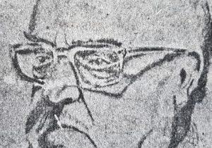 El profesor Antonio Bardi, en el dibujo al lápiz, del artista plástico, investigador del pasado lugareño y docente, procurador Juan Antonio Larrea.