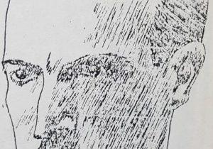 Imagen juvenil, del profesor Antonio Bardi, en una ilustración del dibujante Horacio Ávila, publicada en las páginas de la revista «Biófilos», en el mes de febrero de 1936.