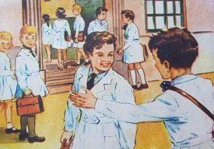 Láminas e ilustraciones, de diferentes libros de lectura, del ciclo primario, correspondientes a las décadas de 1950 y 1960.