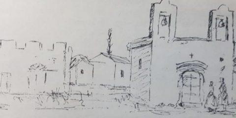 El primer edificio escolar, del pueblo de Chivilcoy (1855).