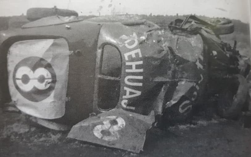 La trágica muerte, del piloto Jorge Eduardo Farabollini, en la curva de Palemón Huergo (1962).