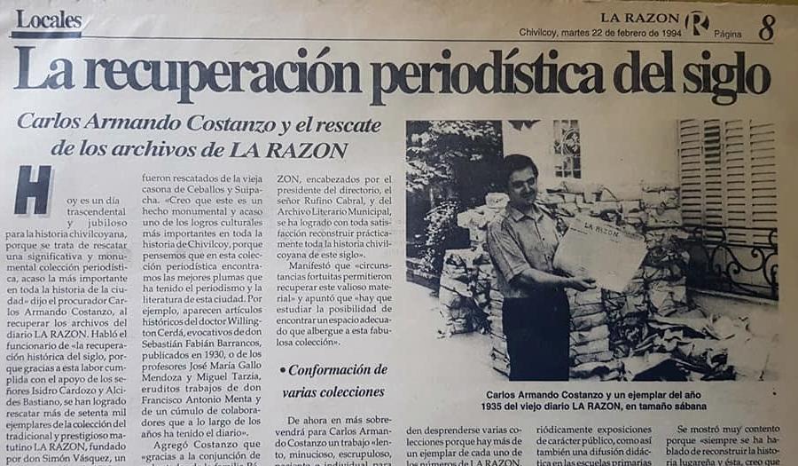 """Rescate de la colección del matutino """"La Razón"""", por Carlos Armando Costanzo (Febrero de 1994)."""