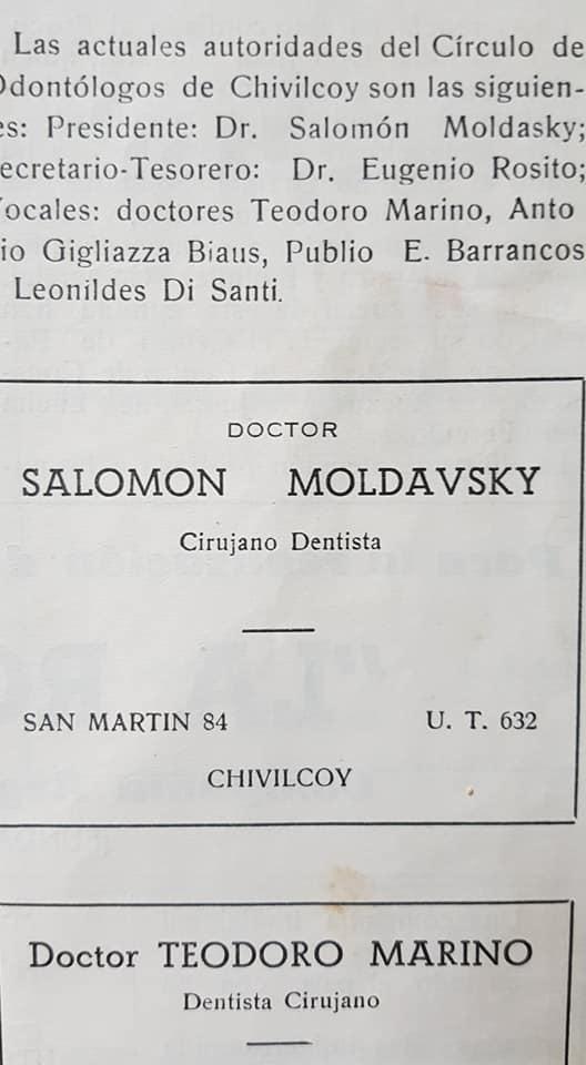 Recordando al odontólogo, Dr. Salomón Moldavsky