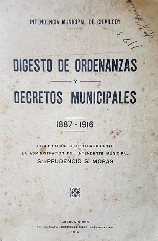 Un digesto de ordenanzas y decretos municipales, de 1916