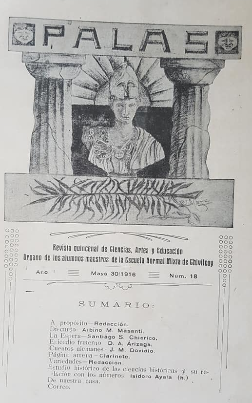"""Un ejemplar de la revista """"Palas"""", de los alumnos, de la Escuela Normal de Chivilcoy, aparecido el 30 de mayo de 1916."""