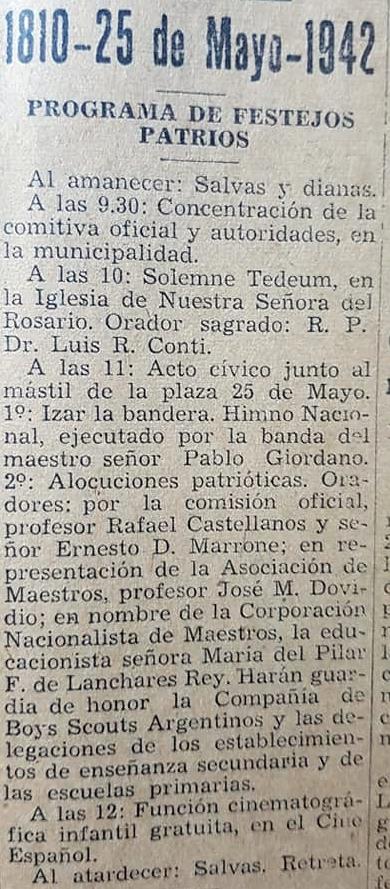 La celebración patriótica, del 25 de mayo de 1942, en Chivilcoy.