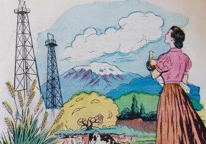Láminas ilustrativas, sobre el Trabajo, publicadas, en distintos libros de lectura, de escuela primaria, correspondientes a la década de 1950.