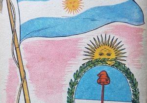Ilustraciones alusivas, al general Belgrano y al Día de la Bandera, publicadas en distintos libros de lectura, de escuela primaria, aparecidos en las décadas de 1950 y 1960.