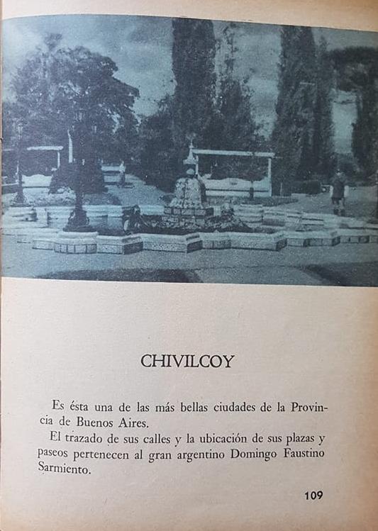 Un libro de lectura escolar, y una página dedicada a Chivilcoy